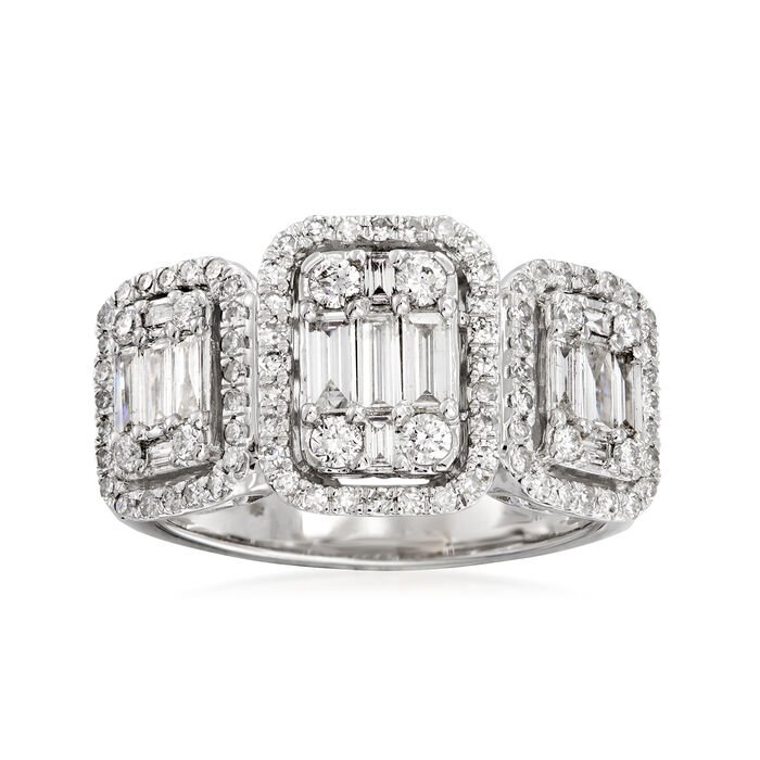 1.10 ct. t.w. Round and Baguette Diamond Ring in 18kt White Gold, , default