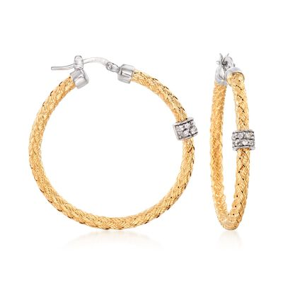 "Charles Garnier ""Torino"" .20 ct. t.w. CZ Medium Hoop Earrings in Two-Tone Sterling Silver, , default"