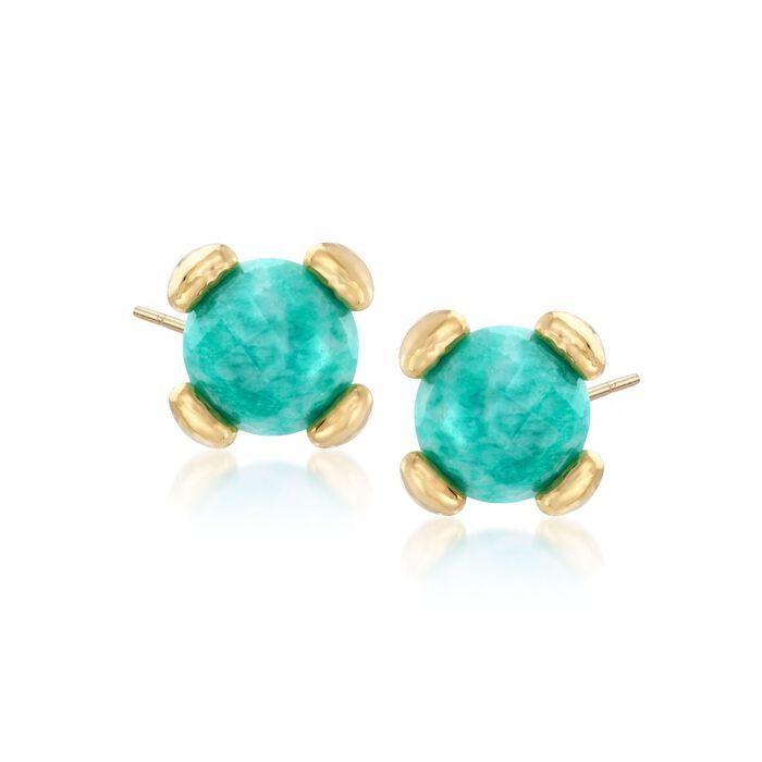 Italian Andiamo 14kt Yellow Gold and Amazonite Stud Earrings, , default