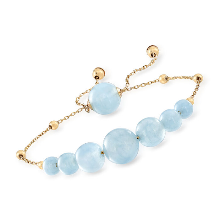 25.95 ct. t.w. Aquamarine Bead Bolo Bracelet in 14kt Yellow Gold, , default