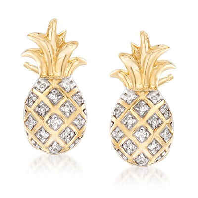 Pineapple Earrings with Diamond Accents in 14kt Yellow Gold, , default