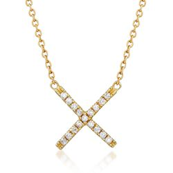".15 ct. t.w. CZ X Necklace in 18kt Gold Over Sterling. 18"", , default"
