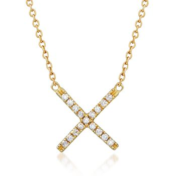 """.15 ct. t.w. CZ X Necklace in 18kt Gold Over Sterling. 18"""", , default"""