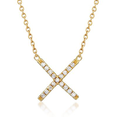 .15 ct. t.w. CZ X Necklace in 18kt Gold Over Sterling, , default