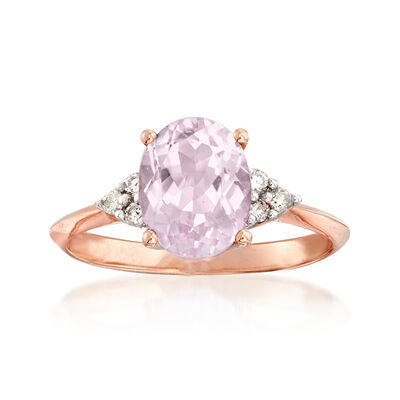C. 2000 Vintage 2.35 Carat Kunzite and .15 ct. t.w. Diamond Ring in 14kt Rose Gold, , default