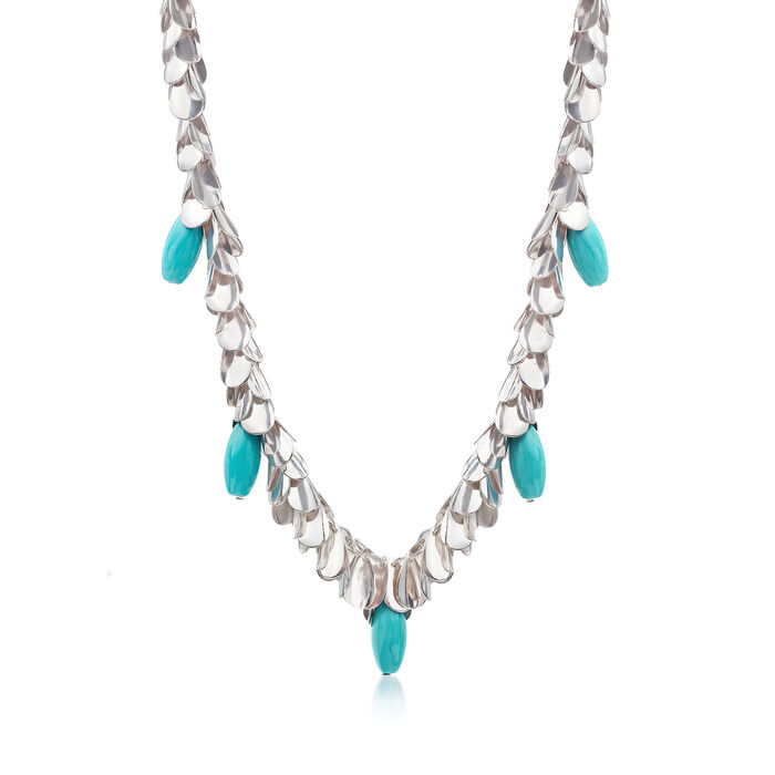 Turquoise-Blue Glass Leaf Necklace in Silvertone