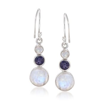 4-10mm Moonstone and .90 ct. t.w. Iolite Drop Earrings in Sterling Silver, , default