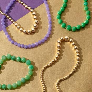 "7-14mm Jade Bead Necklace in 14kt Yellow Gold. 36"", , default"