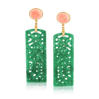 Carved Green Jade and Pink Coral Drop Earrings in 14kt Gold Over Sterling, , default