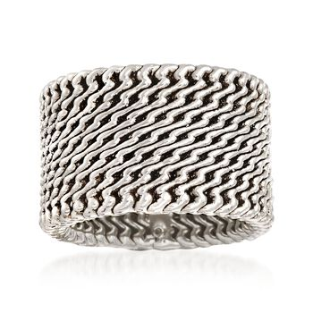 Sterling Silver Wide Zigzag Ring, , default