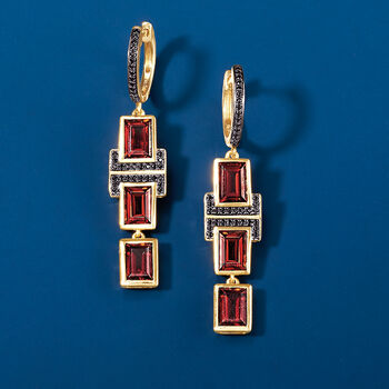 6.50 ct. t.w. Garnet and .20 ct. t.w. Black Spinel Drop Earrings in 18kt Gold Over Sterling , , default