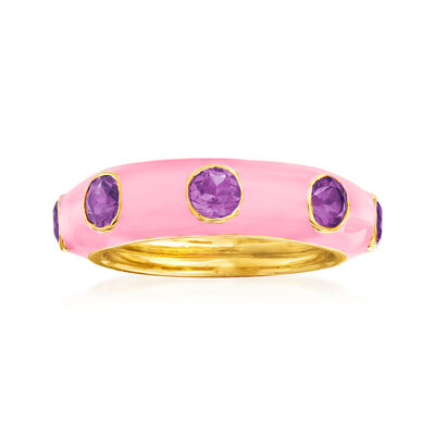 1.50 ct. t.w. Amethyst and Pink Enamel Ring in 18kt Gold Over Sterling, , default