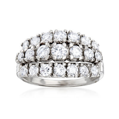 C. 1970 Vintage 1.50 ct. t.w. Diamond Three-Row Ring in 14kt White Gold