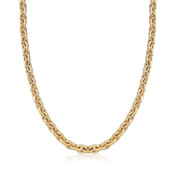 14kt Yellow Gold Textured Oval-Link Necklace, , default