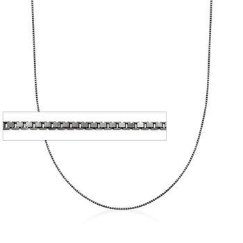 Italian 1mm Sterling Silver Adjustable Slider Box Chain Necklace in Black, , default