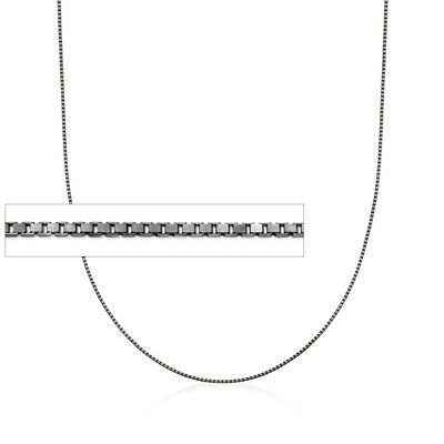 Italian 1mm Sterling Silver Adjustable Slider Box Chain Necklace in Black Rhodium, , default