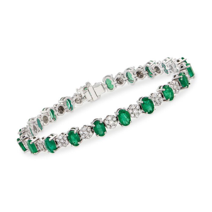 "8.25 ct. t.w. Emerald and 2.00 ct. t.w. Diamond Flower Bracelet in 14kt White Gold. 7"", , default"