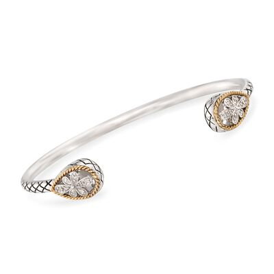 "Andrea Candela ""Andalucia"" Sterling Silver and 18kt Yellow Gold Cuff Bracelet with Diamond Accents, , default"
