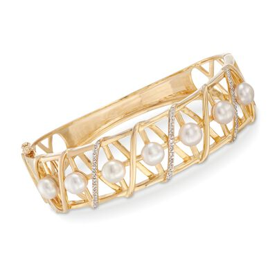 6-6.5mm Cultured Pearl and .10 ct. t.w. Diamond Crisscross Bangle Bracelet in 18kt Yellow Gold Over Sterling Silver, , default