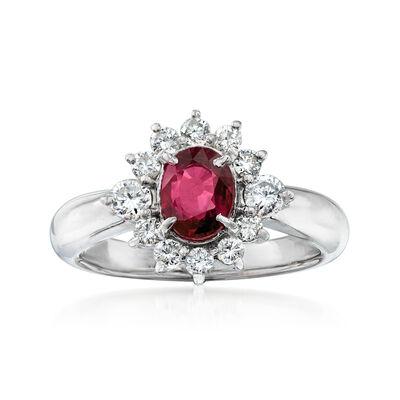 C. 1990 Vintage 1.07 Carat Ruby and .53 ct. t.w. Diamond Ring in Platinum, , default