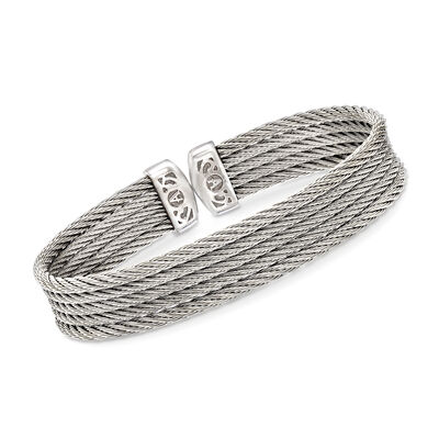"ALOR ""Classique"" Gray Multi-Strand Stainless Steel Cable Cuff, , default"