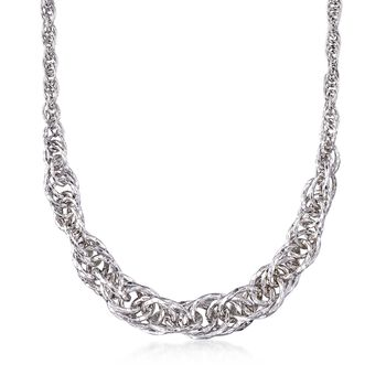 "Sterling Silver Graduated Circle Link Necklace. 18"", , default"