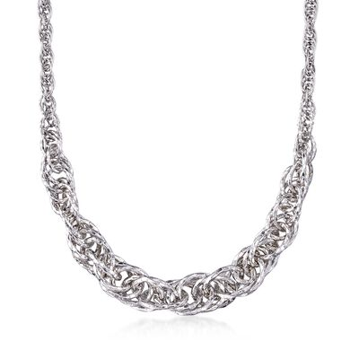 Sterling Silver Graduated Circle Link Necklace, , default