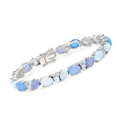 "Blue and Purple Multi-Stone Bracelet in Sterling Silver. 7"", , default"