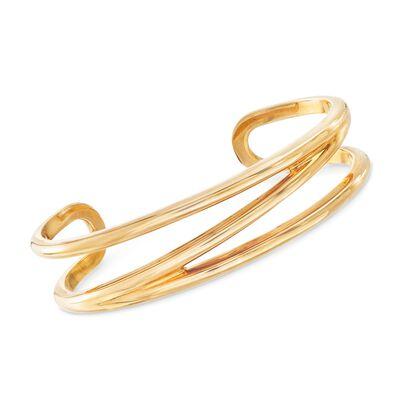 C. 1990 Vintage Tiffany Jewelry 18kt Yellow Gold Open-Space Cuff Bracelet, , default