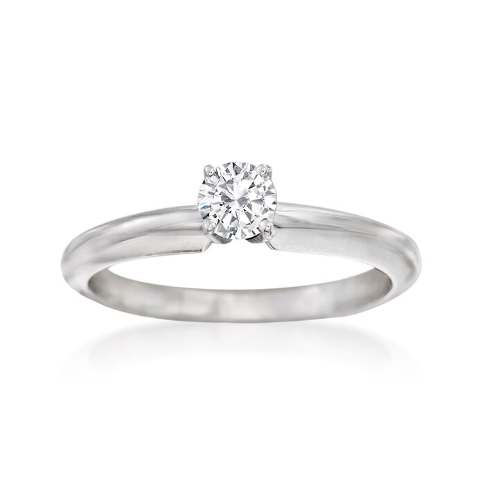 C. 2000 Vintage .27 Carat Diamond Solitaire Ring in 14kt White Gold