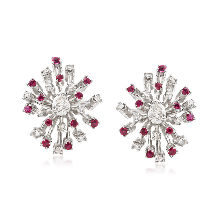 C. 1960 Vintage .55 ct. t.w. Ruby and .75 ct. t.w. Diamond Snowflake Earrings, , default