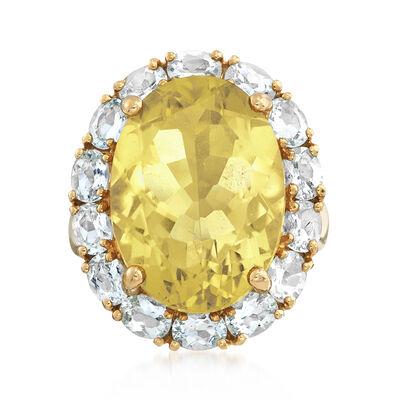 C. 1990 Vintage 11.95 Lemon Quartz and 2.10 ct. t.w. Aquamarine Ring in 14kt Yellow Gold, , default