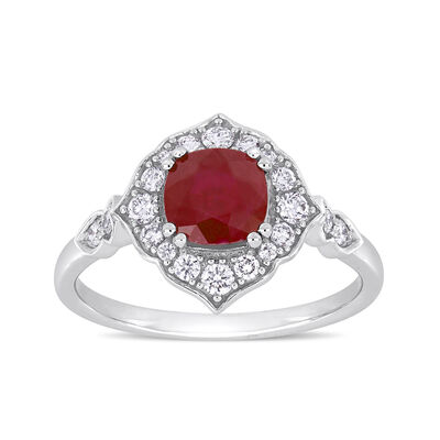1.20 Carat Ruby and .34 ct. t.w. Diamond Ring in 14kt White Gold