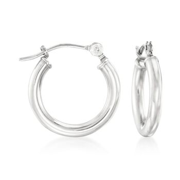 """1.5mm 14kt White Gold Small Hoop Earrings. 1/2"""", , default"""