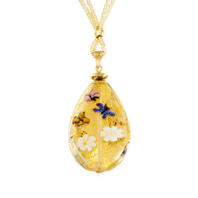 Italian Golden Murano Glass Bead Teardrop Necklace in Sterling Silver and 18kt Gold Over Sterling