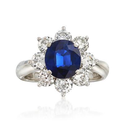 C. 2000 Vintage 2.14 Carat Sapphire and 1.68 ct. t.w. Diamond Ring in Platinum