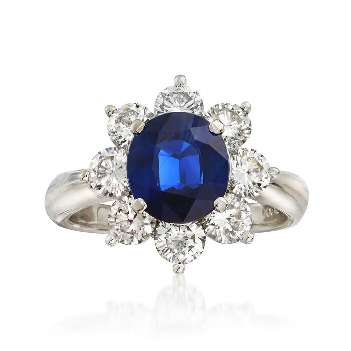 C. 2000 Vintage 2.14 Carat Sapphire and 1.68 ct. t.w. Diamond Ring in Platinum. Size 6, , default