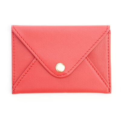 Royce Red Leather Three-Initial Envelope-Style Business Card Holder