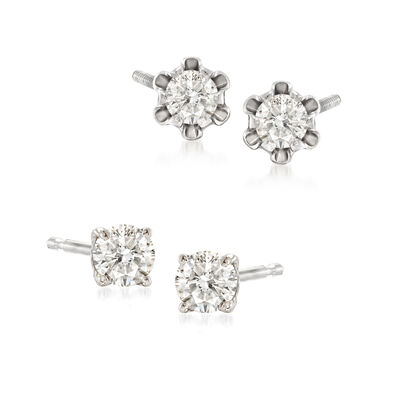 Mommy and Me .39 ct. t.w. Diamond Stud Earring Set of 2 in 14kt White Gold, , default