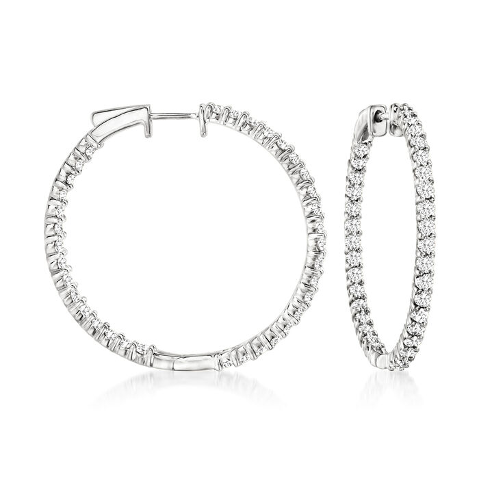3.00 ct. t.w. Diamond Inside-Outside Hoop Earrings in Sterling Silver