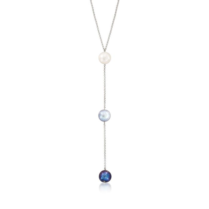 """10-11mm Multicolored Cultured Pearl Y-Necklace in Sterling Silver. 18"""", , default"""