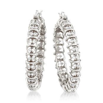 """2.00 ct. t.w. Diamond Hoop Earrings in Sterling Silver. 1 5/8"""""""