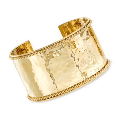 "Phillip Gavriel ""Italian Cable"" Large Cuff Bracelet in 14kt Yellow Gold, , default"