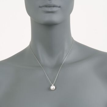 """11mm Cultured Pearl Pendant Necklace with Diamond in 14kt White Gold. 18"""", , default"""
