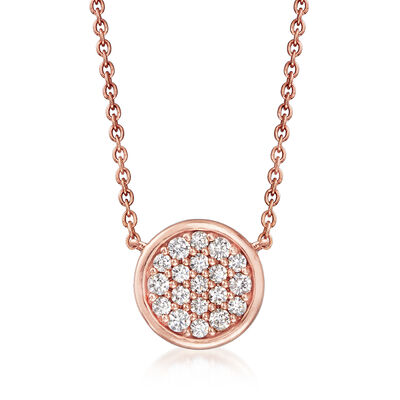 C. 2000 Vintage .30 ct. t.w. Diamond Disc Necklace in 14kt Rose Gold