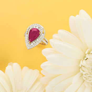 3.75 Carat Ruby and 1.35 ct. t.w. Diamond Ring in 18kt Yellow Gold