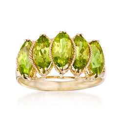 2.80 ct. t.w. Marquise Peridot Five-Stone Ring in 14kt Yellow Gold, , default