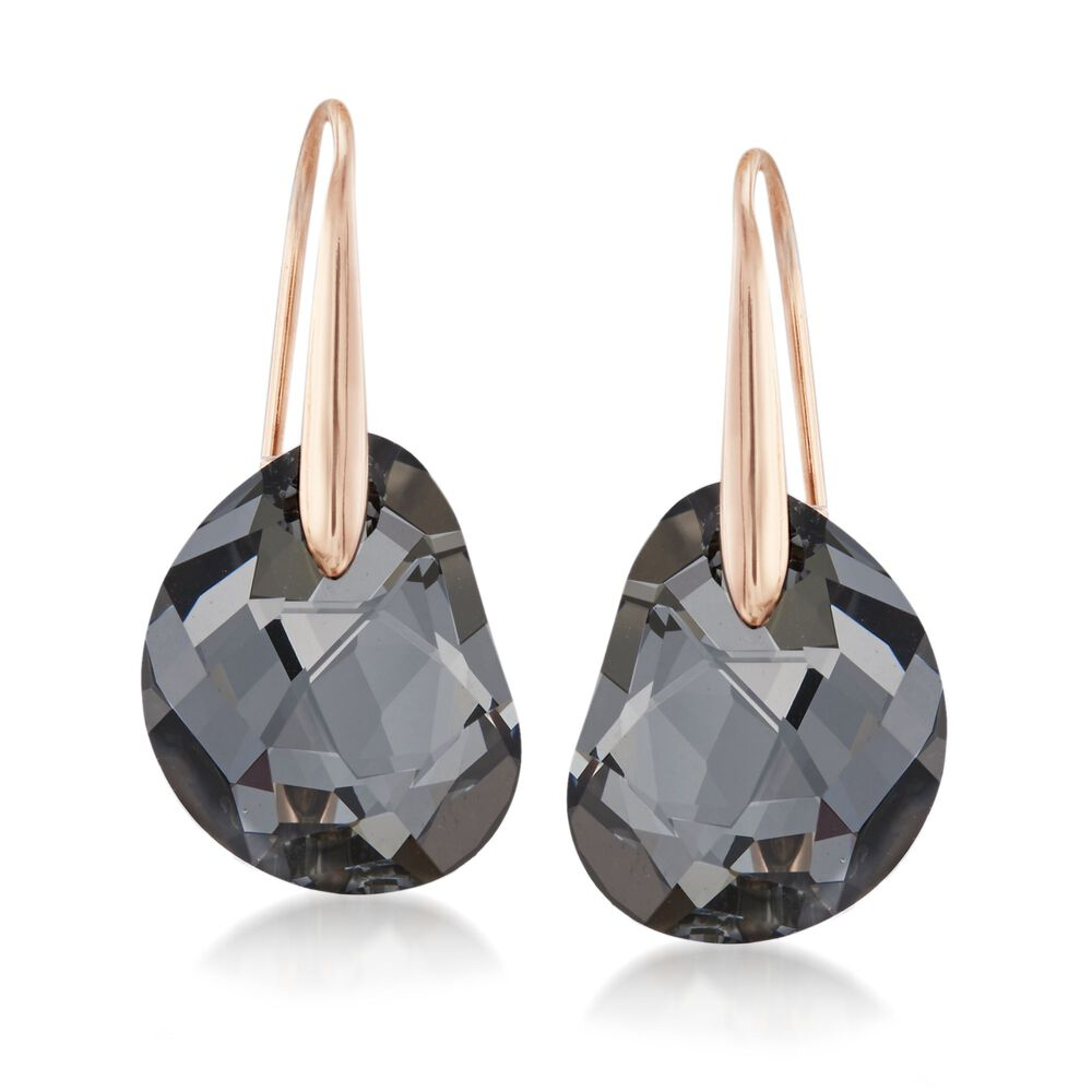 Swarovski Crystal Galet Black Drop Earrings In Rose Gold