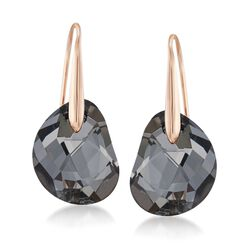"Swarovski Crystal ""Galet"" Black Crystal Drop Earrings in Rose Gold Plate, , default"