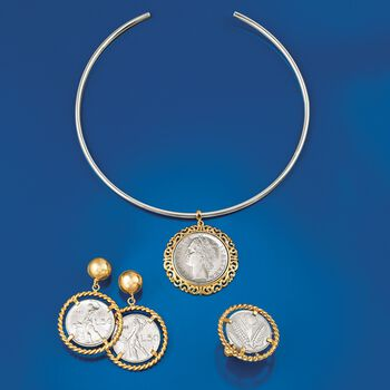 """Italian Genuine 1-Lira Coin Collar Necklace in Two-Tone Sterling Silver. 15"""", , default"""